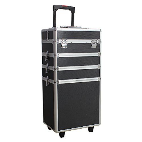 HBF Schminkkoffer und Trolley Kosmetikkoffer für Damen Auswahlen Farben , Größe und Design aus Aluminium Beauty Case Rollkoffer für Make-up Liebhaber zu Reisen (2.Schwarz XXL , 4-in-1)