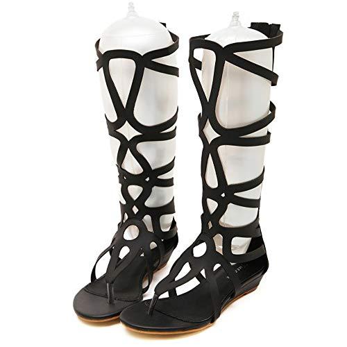 LXYYBFBD Sandalen Für Damen,Schwarz Lässige Mode Sandalen Weiblichen Sommer Hohe Rohr Römische Sandalen Weiblichen Laser 35 Schneiden Damenschuhe, - Schneiden Schwarzes Rohr