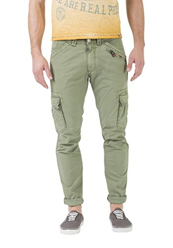 Timezone Herren Cargo Hose Ben - Regular Fit - Grün - Oil Green, Größe:W 31 L 32, Farbe:Oil Green (4029)