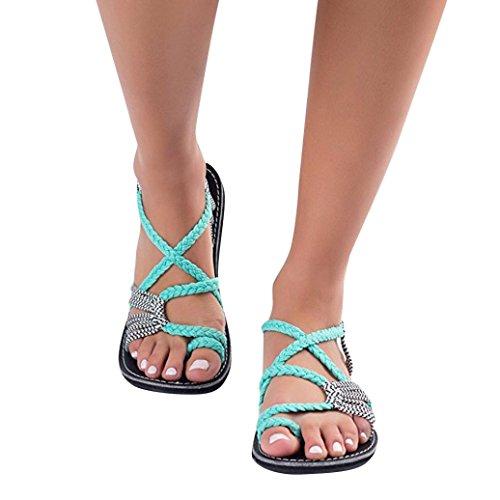 Sandalias de Mujer Verano Chanclas Zapatos Tejidos Correa de Moda Zapatos de Playa Zapatillas ❤️ Manadlian (Verde Menta, CN:39)