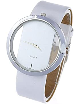 FEITONG Damen Einzigartig Uhr PU Leder Transparenter Vorwahlknopf Hohl Analoge Quarz Armbanduhr Weiß