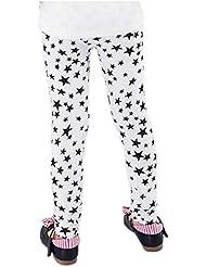 Legging pour fille Blanc étoiles Noir Lait Soie Legging, 4–5x