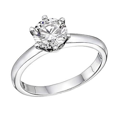 Bague Femme Solitaire Fiançailles Or Blanc 750/1000 (18 carats) et Diamant Brillant 1/2 carats
