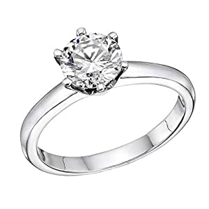 1.00 ct. Round Diamond Solitaire Engagement Ring in 18k White Gold (F Color / VS2 Clarity Enhanced)