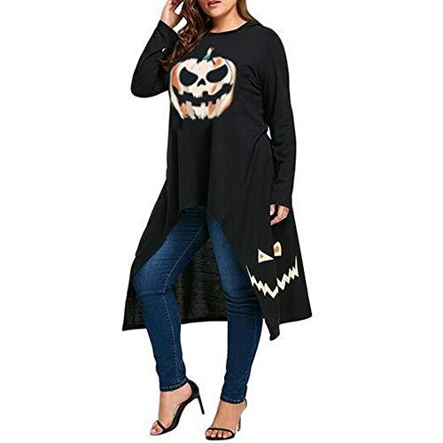 QUINTRA Halloween Frauen High Low Saum mit Kapuze Kürbis Print Cocktail Party Swing Kleid