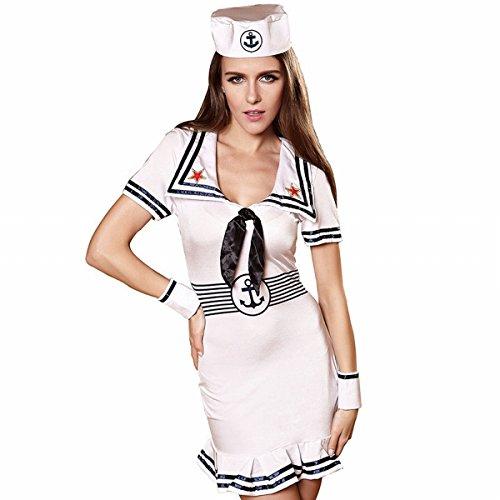 st Dance Performance Kostüm Frauen, die Kostüm Tarnungsrock Tarn Tragen , Weiß , L (Sailor Dance Kostüm)