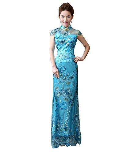 Drasawee Damen Schlauch Kleid Blau