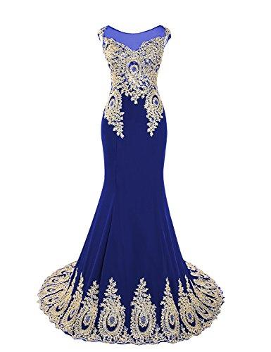 Clearbridal XU039 Robes de bal, soirée pour femme Nuque dégagée Coupe sirène Robe demoiselle d'honneur Robe avec applique -  bleu -  36
