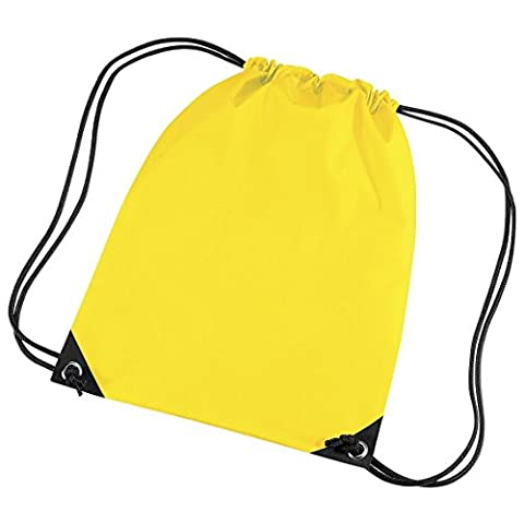 Gymsack Bag with cord straps by BagBase - 31 Colours to choose from - Yellow (Baby-mädchen Eyelet)