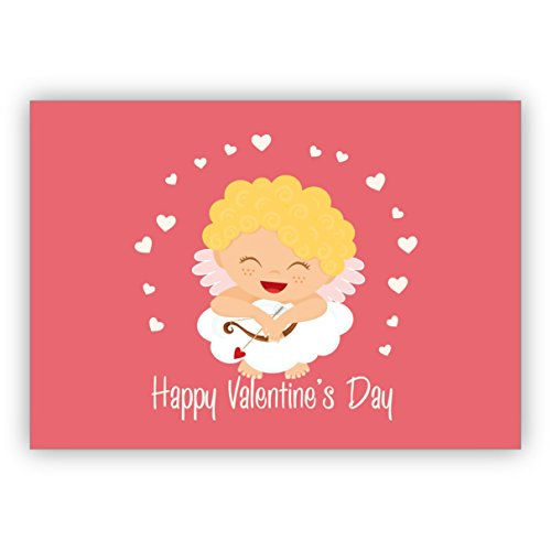 Lustige romantische Valentinskarte mit kleinem Amor und Herzen auf Wolke: Happy Valentine's Day