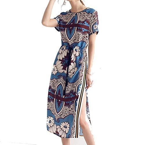 Ethnische Seidenrock Der Frauen Sommerdruck 100% Silk Druck Langes Kleid S-XL (Farbe : A, größe : L)