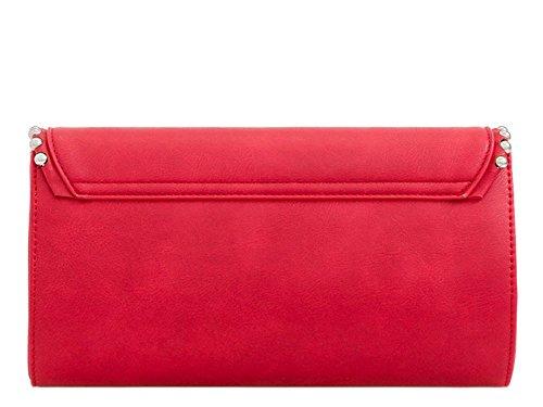 Borsetta Da Sera Con Pochette Da Sera In Vera Pelle Con Fibbia - Rosso, Rosso Medio