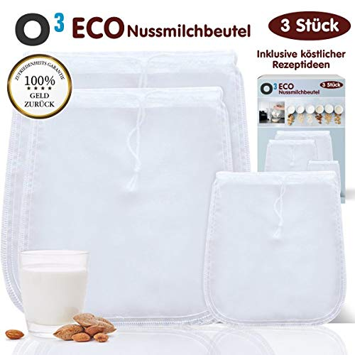 O³ ECO Nussmilchbeutel // 3 Stück für vegane Nussmilch - Mandelmilch // Feinmaschiges Passiertuch in verschiedenen Größen + Rezeptideen // Nut Milk Bag