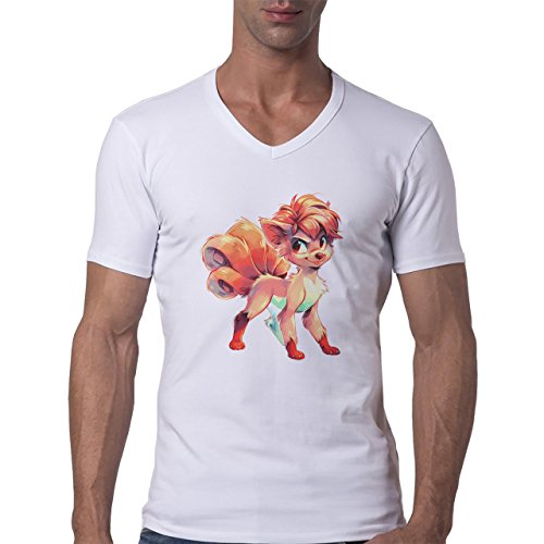 Pokemon Vulpix Ninetales Fire Clothes Herren V-Neck T-Shirt Weiß