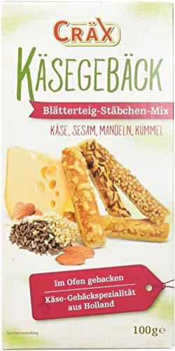 Cräx Käse-Blätterteig Stäbchen Mix (Käse, Sesam, Mandel, Kümmel), 5er Pack (5 x 100 g)