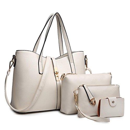 Damenhandtaschen Shopper 4PCS SOMESUN Damen Schultertaschen Umhängetaschen Crossbody Henkeltaschen Leder Umhängetasche Henkeltasche Weiß