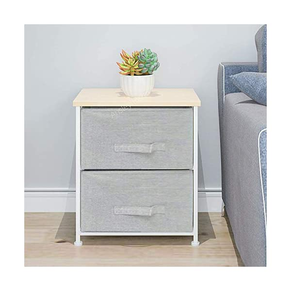 QIHANG-UK Pair of Bedside Table Bedroom Nursery Nightstand Children's Room Bedside Lamp Table Chest of 2 Drawers Grey (001 * 2) QIHANG-UK Utility Storage Unit: this chest of drawers will help on improving the efficiency of space usage, make it easier for you to classify and storage stuff, it is suitable for both personal and family use Sturdy and Durable: solid metal frame and x-shaped bar behind ensure the stability, plastic caps on feet keep floor from scratches; upper 18mm wood board which is solid and simple to clean up; this storage unit is sturdy and durable Easy to assemble: with the aid of the included mounting accessories, the storage system with drawers can be built in 5-10 minutes 2