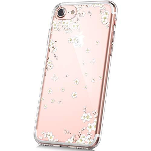 PHEZEN Schutzhülle für iPhone 7, iPhone 8, süßes Design, weich, flexibel, kristallklar, TPU, Silikon, Gummi, ultradünn, transparent, TPU, Bumper Cover für iPhone 7/8 White Cherry Blossom -