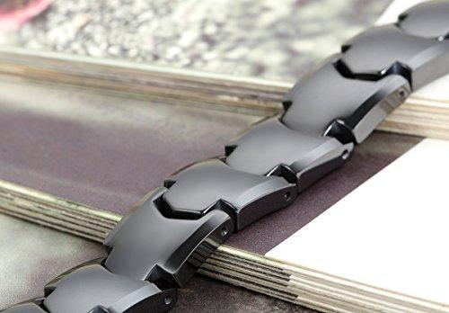 Flongo Bracelet Céramique Acier Inoxydable Menotte Poli Classique Elégant Charme Amitié Fantaisie Bijoux Cadeau Large 11mm Couleur Noir Blanche pour Homme A