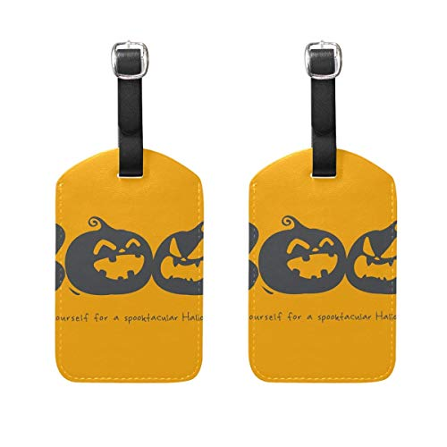 Halloween Boo Luggage Tags 2 Pieces Set Travel ID Bag Tag for Suitcase