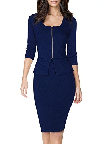 Miusol Vintage Kleid Karree-Ausschnitt 3/4 Arm Cocktailkleid Business Kleid, Blau
