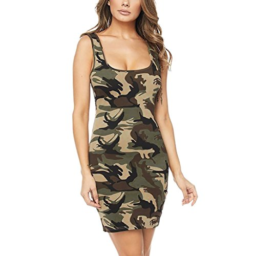 Robe de Camouflage, GreatestPAK Femmes O-Cou Impression Fesses sans Manches Sexy Mini Robe Courte