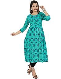 Scion Women's Rama green printed cotton slub anarkali kurti for women