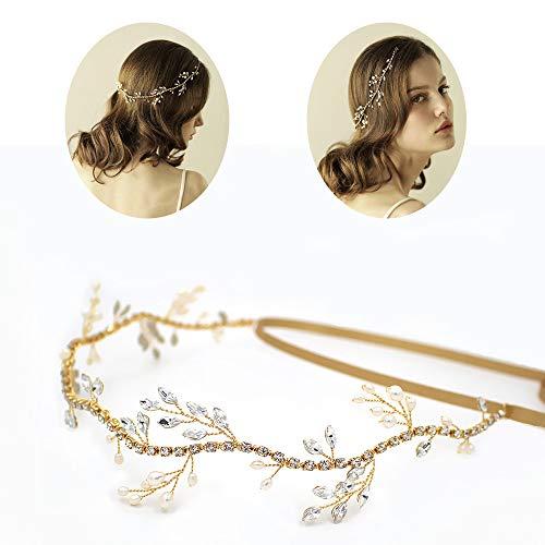 roroz Natürliche Perle Welle Strass Kette Braut Stirnband Tiara, Braut Haarband Hochzeit Haarschmuck Hochzeit Kleid Zubehör,Gold (Immer Halloween Sonnig)