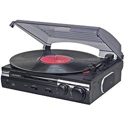 Lauson CL145 Platine Vinyle USB | Lecteur de Vinyle Stéréo | 2 Vitesses (33/45 RPM) | Tourne-Disque avec Haut-parleurs intégrés | Fonction d'encodage | Convertisseur Vinyle à MP3 (Noir)