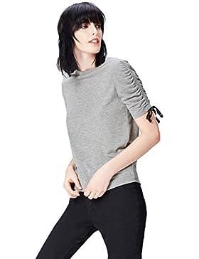 FIND T-Shirt con Manica a Tre Quarti con Arricciatura e Laccetti Donna