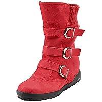bazhahei femmes bottes zipper mocassin flats cycle orteil en en en daim couleur pure boucle sports chaussures chauffer la sangle de bottes d'hiver ski rétro 2.5-8 court en peluche de taille 36db17
