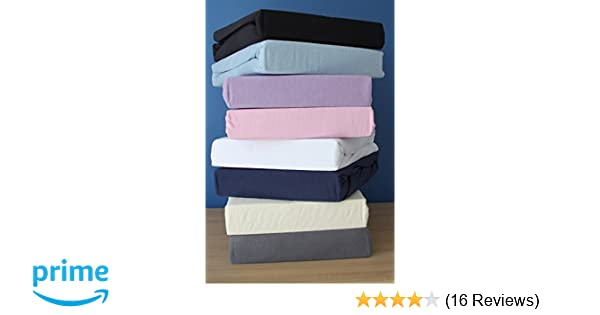 Family Bedding 100 Percent Cotton Jersey King Bed Fitted Sheet Lilac 160 cm x 200 cm