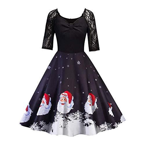 6-WUTOLUOHANS Les Femmes de Noël à Manches Courtes en Dentelle Patchwork Impression Robe de soirée Robe Vintage Robes Wrap pour Femmes (Color : Noir, Taille : M)