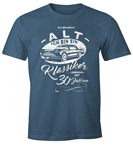 MoonWorks Herren Geschenk T-Shirt zum Geburtstag Ich Bin Nicht alt Ich Bin EIN Klassiker Auto Retro Oldtimer Spruch 30-90 Jahre 30 Denim M