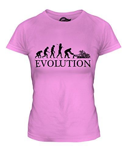 Evolution Kostüm Batman - Candymix Baumchirurg Evolution des Menschen Damen T Shirt, Größe Large, Farbe Rosa