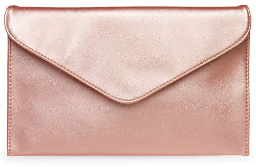 Caspar TA310 Donna Pochette a Busta, Colore:rosa metallico