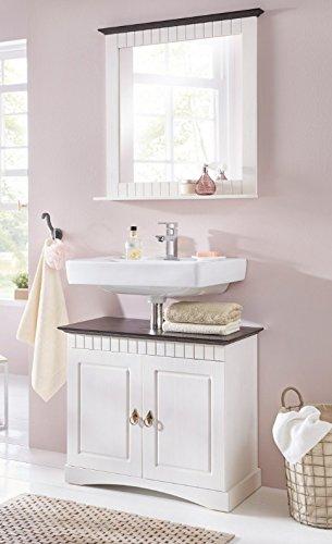clever-moebel 2 tlg Badmöbel Set aus Kiefernholz weiß braun Badschrank Badschränke