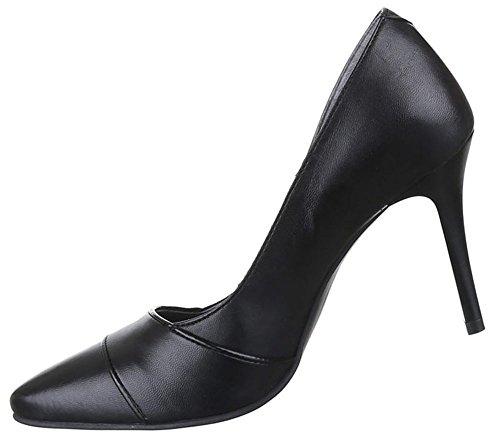 Damen Schuhe Pumps Leder High Heels Modell Nr.1Schwarz