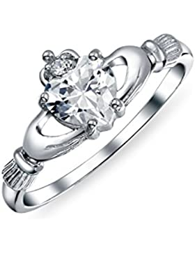 Bling Jewelry Irish Celtic Sterling Silber Herz CZ Claddagh Ring