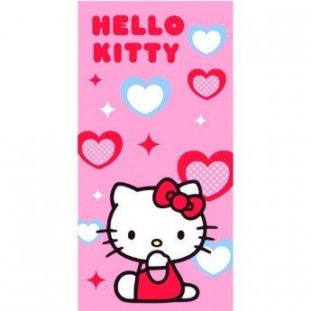 """Toalla de Playa Hello Kitty """"Corazones Azules y Rojos"""" 75X150"""