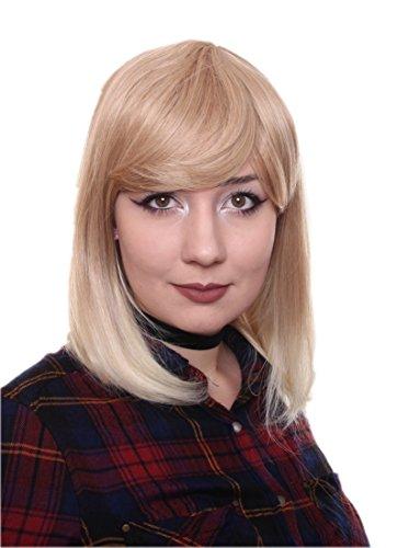 Prettyland Blond Strähnen Mittellange Glatte Natürlich Matte wie Echthaar hitzefeste Volumen Perücke Wig C181