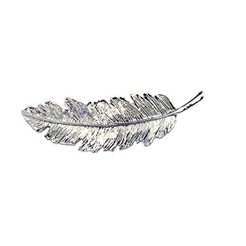 Qinlee Federblätter Haarklammern Frühling Haarspangen Haarschmuck Haarnadeln Klemmen Styling Frisur Haar Ornamente Hochzeiten Bankette Party Schmuck Geschenk für Damen Mädchen (Silber)