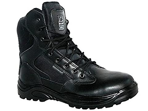 Groundwork Mens Work Safety Boots Protective Steel Toe Cap Slip Resistant Oil Resistant Sole Military Combat Police Work Army Military Branded Footwear Hardwearing Hardwearing Leather UK 8