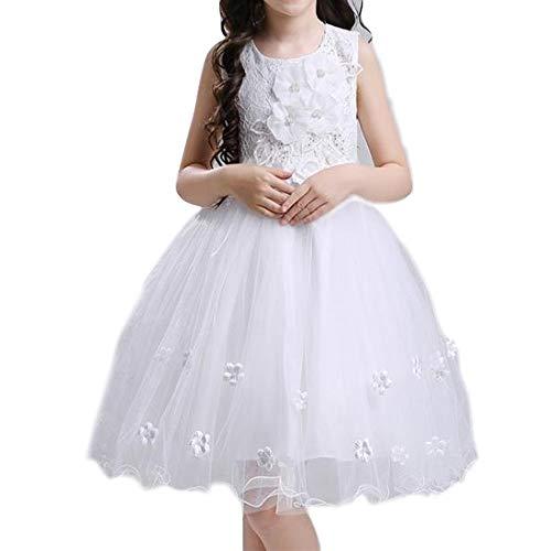 Göttin Kostüm Sonne - H_y Flauschige Prinzessin Kleid, Bogen Perle Blumen handgefertigte weiche Stoff Brautkleid Prom Kleidung ärmellos 3-10 Jahre Mädchen weiße Kostüme,120