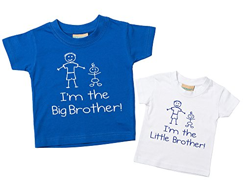I'm The Big Bruder I'm The Little Bruder T-Shirt Set Blau-Weiß T-Shirt Set Baby Kleinkind Kinder Verfügbar in den Größen 0-6 Monate bis 14-15 Jahre Neu Baby Jungen Bruder Geschenk -