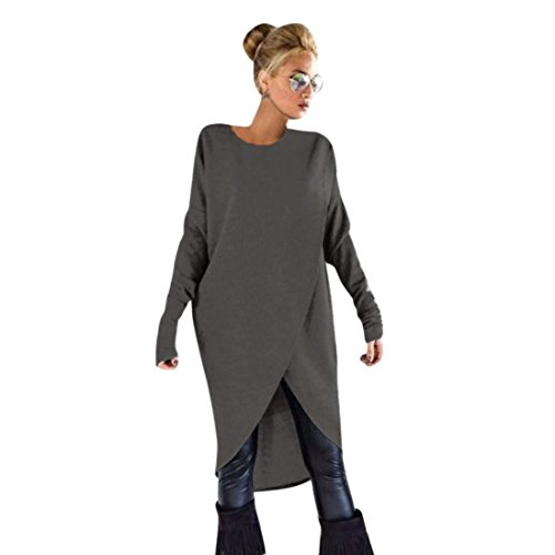 Sunnywill Damen Blusen Pullover Streetwear Unregelmäßiges strickendes Loses Sweatshirt-Pullover-Lange Oberseiten-Bluse (Dark Gray, M)