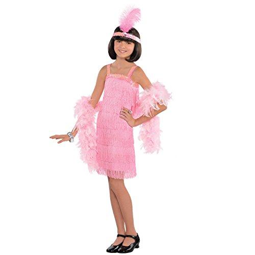 Generique - Charleston Kostüm für Kinder rosa 116/128 (6-8 Jahre) (20er Mädchen Kostüm)