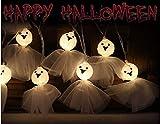 Shanke Halloween Guirlandes Lumineuse, 20 LED Fantôme Blanc Décoration Halloween, 3.5M Guirlande LED à Pile pour Soirée Fête Halloween, Alimentée par 2 Piles AA (Non Inclus)