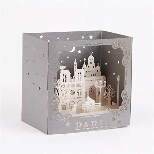 CHOULI Creative Ornament 3D Paris Greeting Card Birthday Card Festival Blessing Card Gray (Supplies Paris Birthday Party)