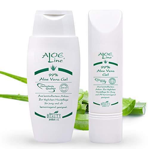 Bio Aloe Vera GEL 99% (1x150ml + 1x50ml) | Dermatologisch getestet mit SEHR GUT | ohne Duft- & Farbstoffe - ohne Parabene - ohne Mineralöle | Naturkosmetik | Vegan | Pflege für Haut- & Haar | Made in Germany